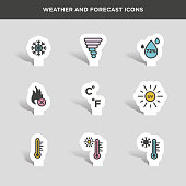 Vector graphic  icon set of weather and forecast