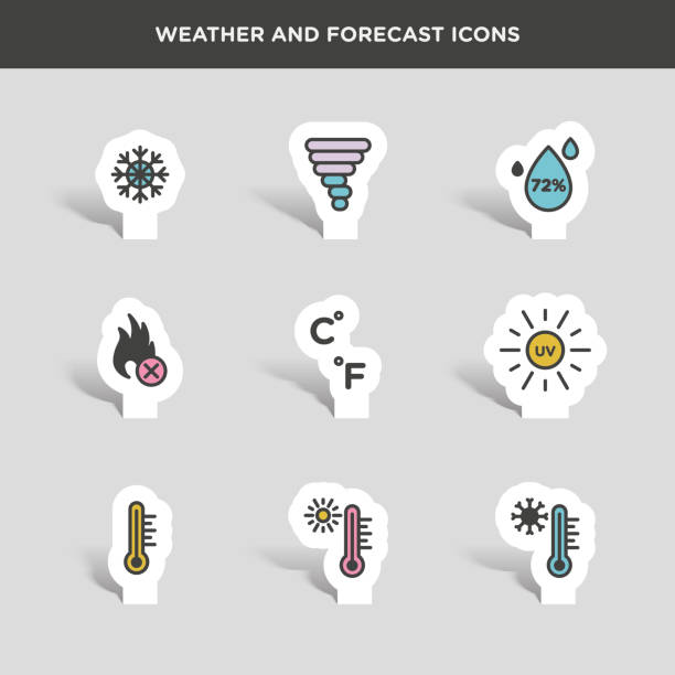 Vector graphic  icon set of weather and forecast Vector graphic  icon set of weather and forecast heat wave stock illustrations