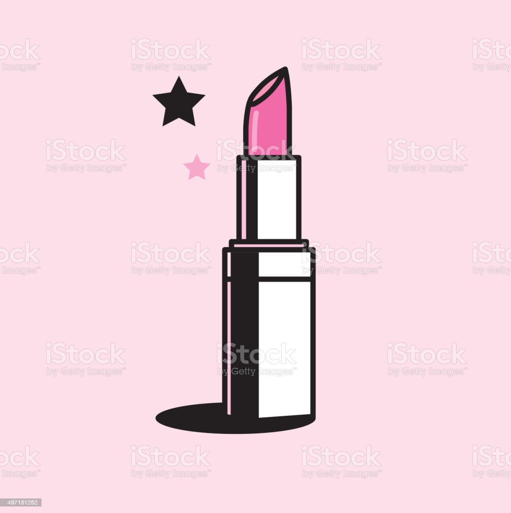 Vector graphic illustration of a shiny pink colored lipstick vector art illustration