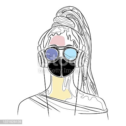Vector graphic illustration of beautiful cute face of young artistic girl with thick long hair, sunglasse, mask, headphones. Hand drawn sketch line drawing. Portrait closeup woman. Silhouette
