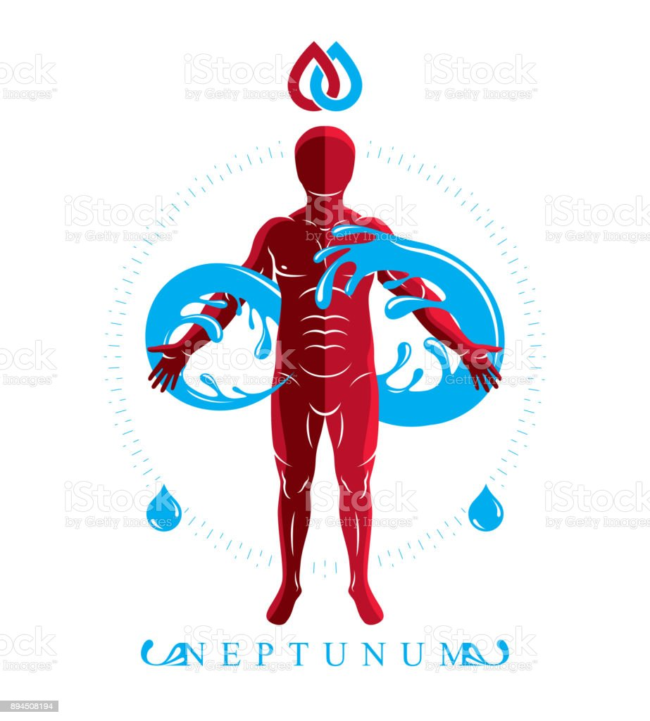 Vector Graphic Illustration Of Muscular Human Personality And The