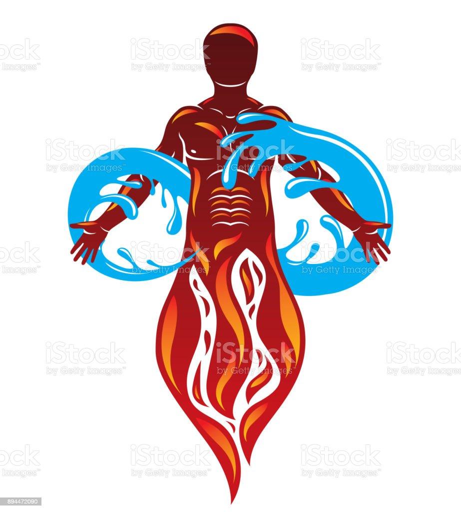 Illustration Graphique De Vecteur De Forte Pompier Masculin Composé