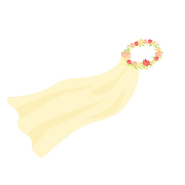 Vector graphic illustration of wedding bridal veil with flower crown wreath