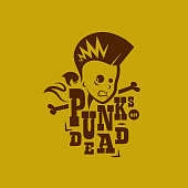 Vector graphic illustration punk kids with sign