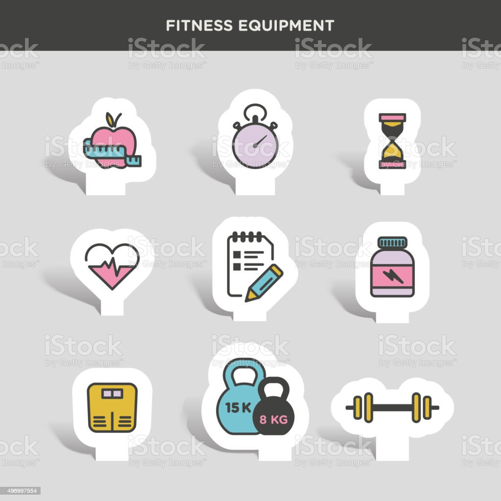 Vector graphic lifestyle, gym and exercise icon pack
