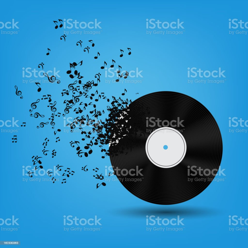 Vector graphic of a record breaking into music notes royalty-free stock vector art