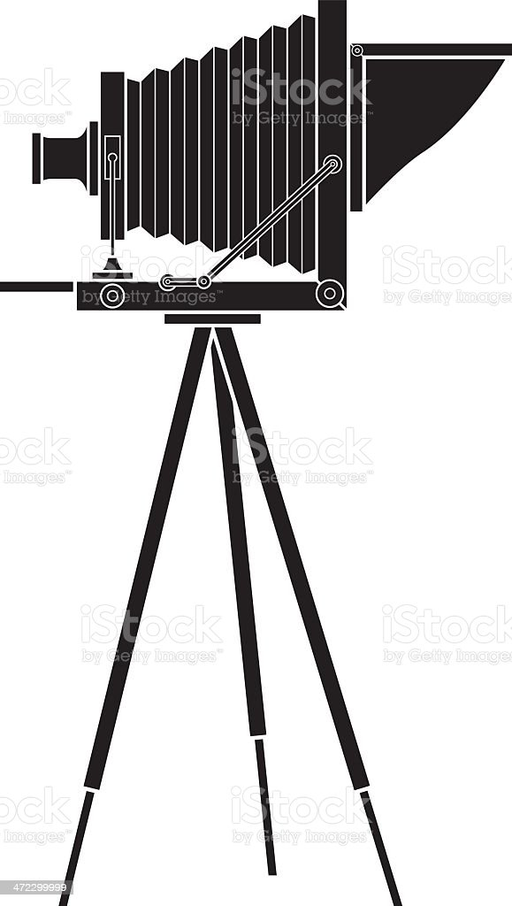 Vector graphic of an old photo camera on a tripod vector art illustration