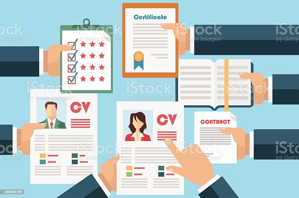 Vector graphic of job interview concept with CV resume vector art illustration
