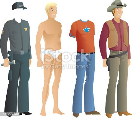 Vector graphic of men's clothing including a cowboy outfit
