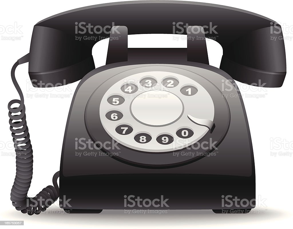 Vector graphic of retro dial phone vector art illustration