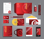Corporate identity business set with different objects in vibrant colors with sample symbol.