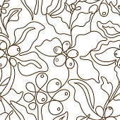Vector graphic seamless pattern. Nature coffee tree