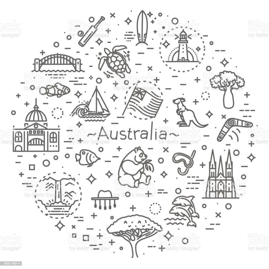 Vector graphic set. Australian culture, animals, traditions. Sign, element, emblem, symbol vector art illustration