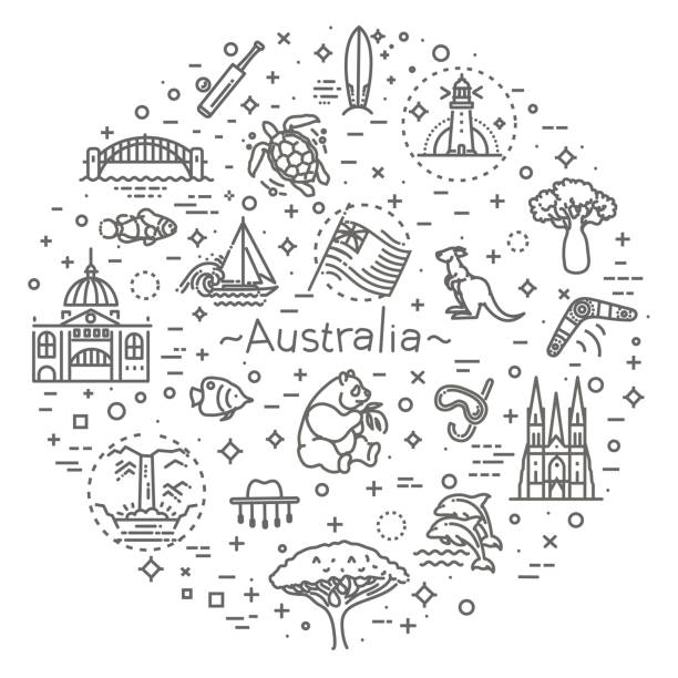 vector graphic set. australian culture, animals, traditions. sign, element, emblem, symbol - melbourne stock illustrations
