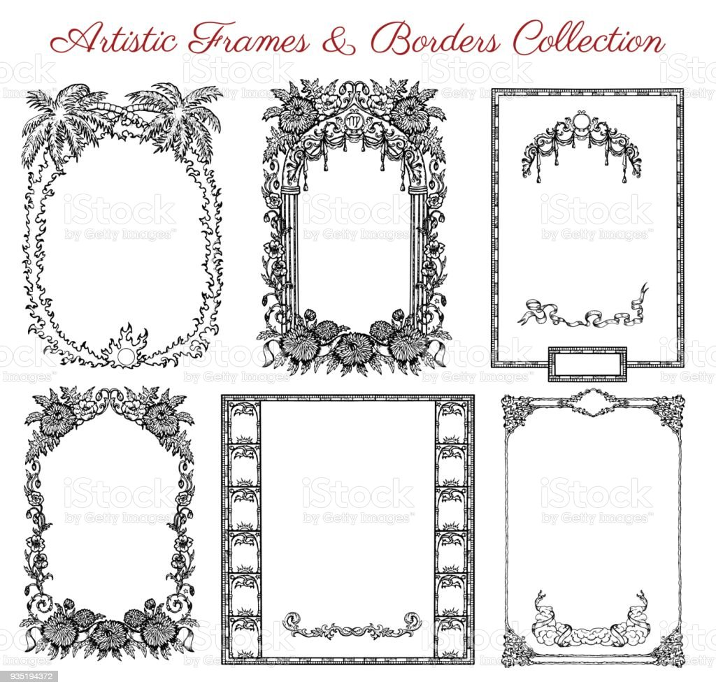 Vector Graphic Set With Antique Frames And Old Borders Stock Vector ...