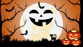 istock Vector graphics. Halloween and his characters. Moon, full moon night, black cat, bats, silhouettes of trees and glowing pumpkins. Artistic concept for flyers, banners, covers, wallpapers and more. 1306685628