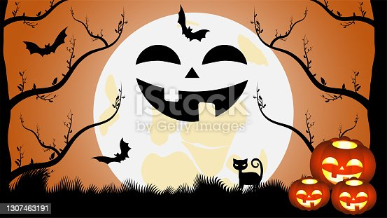 istock Vector graphics. Halloween and his characters. Moon, full moon night, black cat, bats, silhouettes of trees and glowing pumpkins. Artistic concept for flyers, banners, covers, wallpapers and more. 1307463191