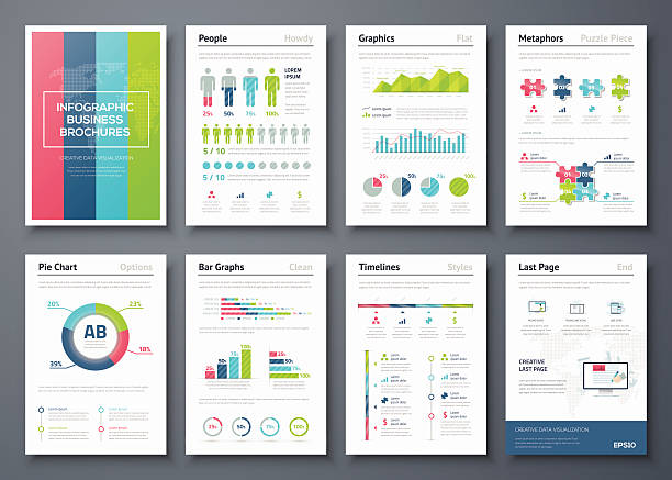 ilustraciones, imágenes clip art, dibujos animados e iconos de stock de vector gráficos en infografía negocios folleto medio - infografías demográficas