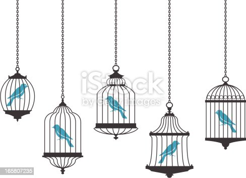 Bluebirds in bird cages. JPG (5587x3931px), PDF, PNG (transparent background) and AI files available in zip file.