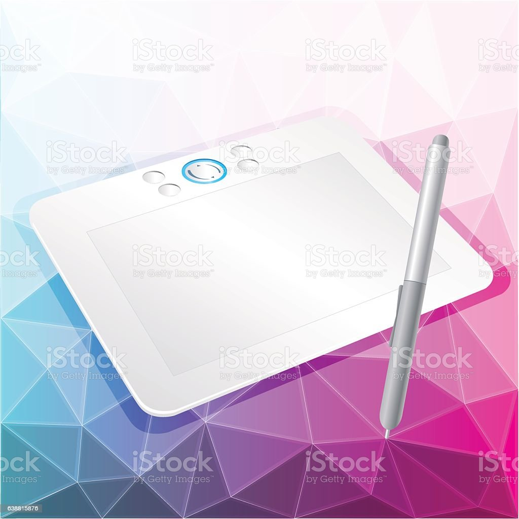 vector graphics tablet with stylus vector art illustration
