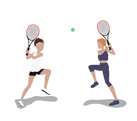 Vector graphics. two girls in sportswear play tennis with rackets