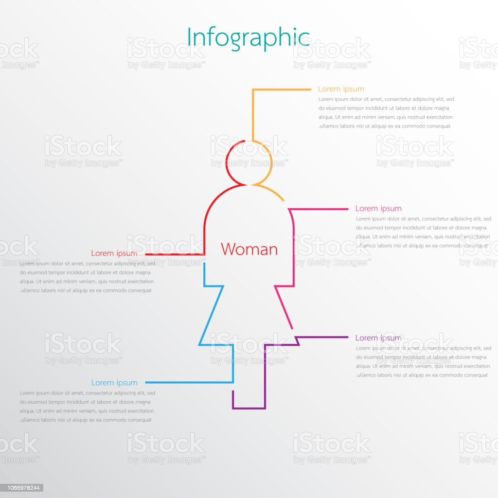 Vector graphics used for female related reports are divided into 5 topics. vector art illustration
