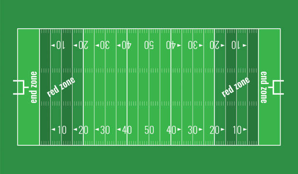 Vector Grass Textured American Football Field. American football background. Vector grass textured American football field. Lines marked along ends and sides are end lines and sidelines, and goal lines are marked 10 yards inward from each end line line of scrimmage stock illustrations