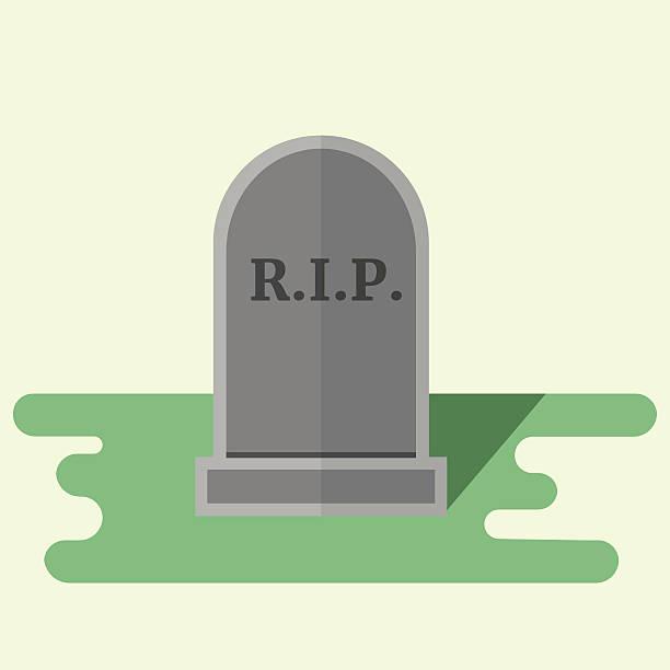 vector gravestone flat style illustration - tombstone stock illustrations, clip art, cartoons, & icons