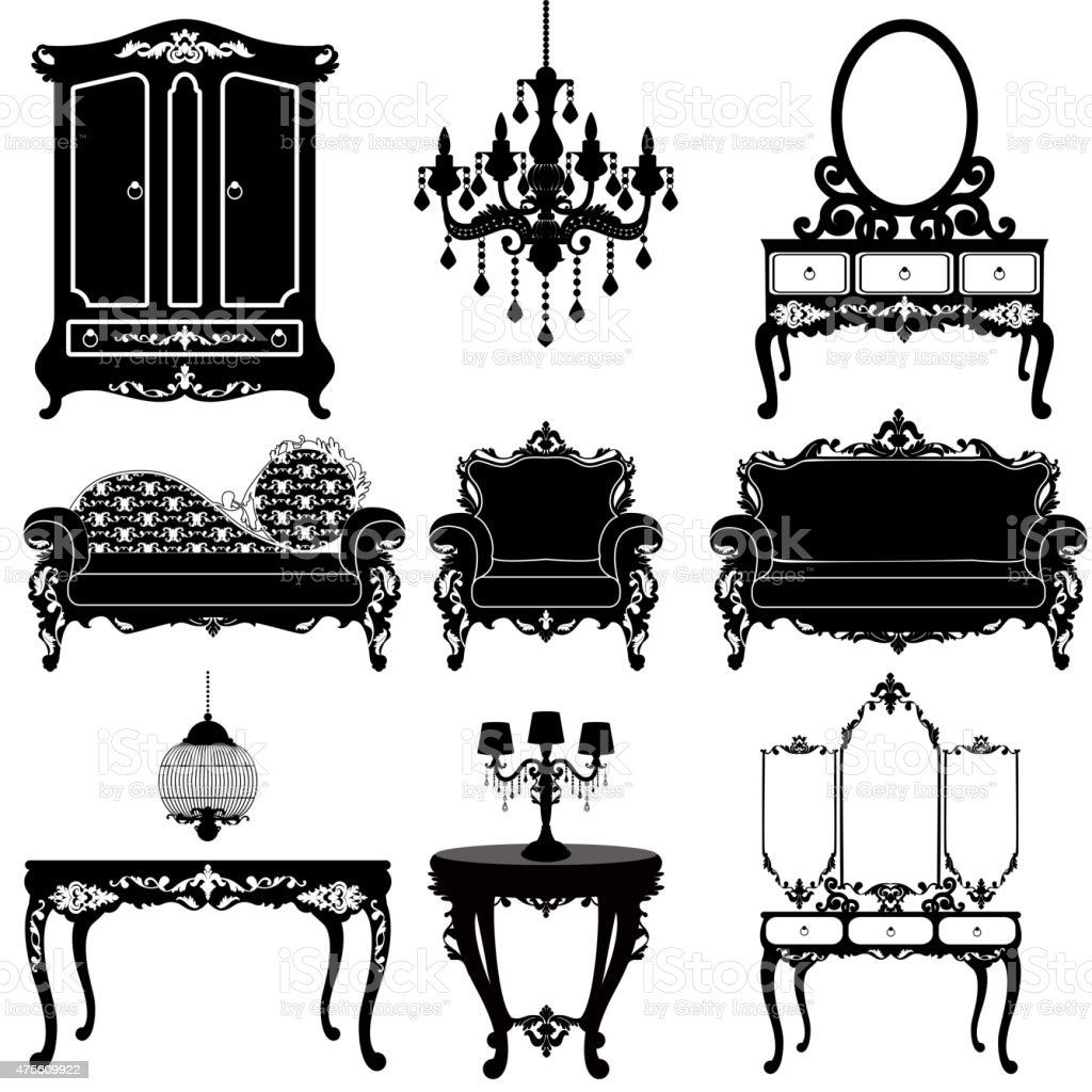 Vector great collection of furniture in the Baroque style vector art illustration