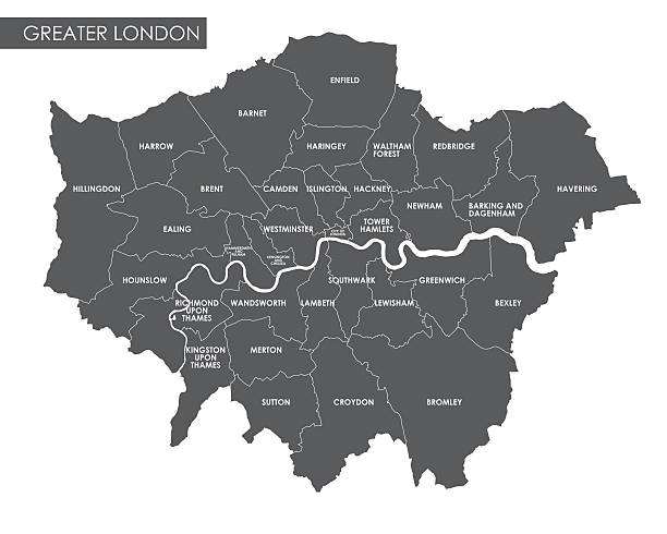 vector greater london administrative map - newham stock-grafiken, -clipart, -cartoons und -symbole
