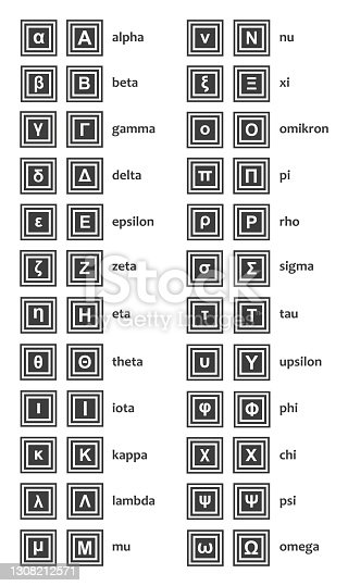 istock Vector greek alphabet - both upper case and lower case - letters with the names isolated on a white background. 1308212571