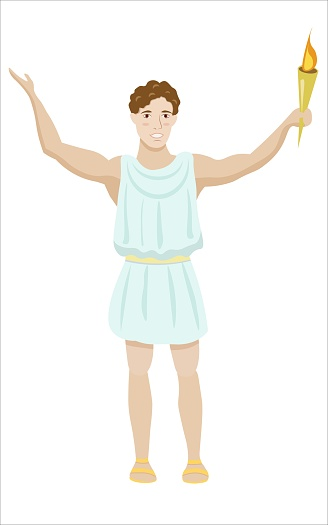 Vector greek man greeting with olympic flame