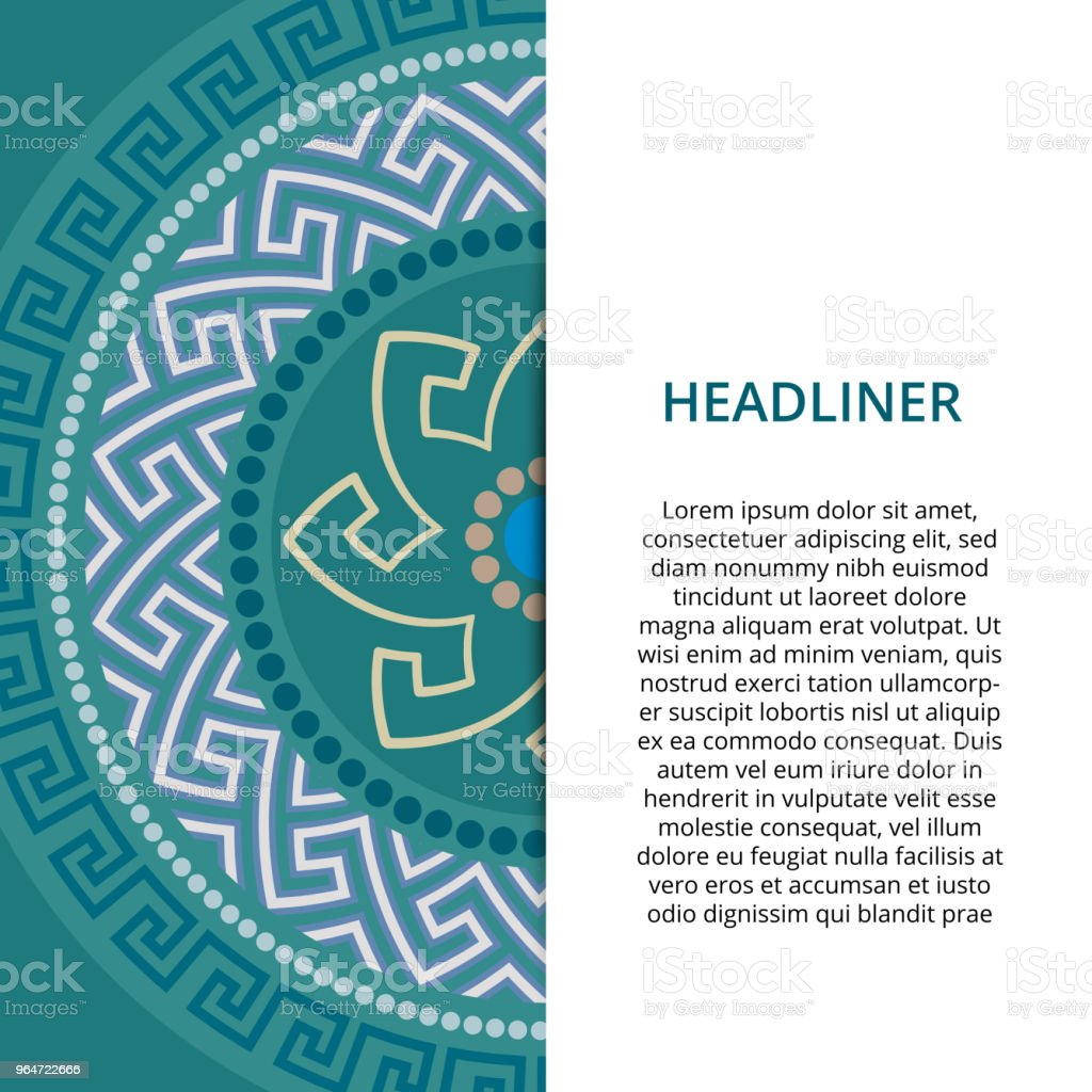 Vector Greek style background. Circular ornament. Blue pattern on a different colored background. vector art illustration
