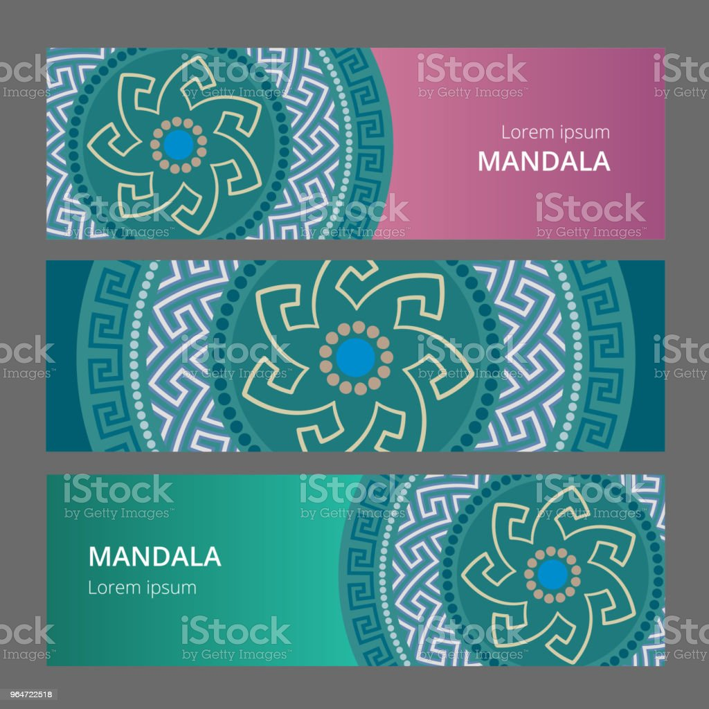 Vector Greek style banner set. Circular ornament. Blue pattern on a different colored background. vector art illustration