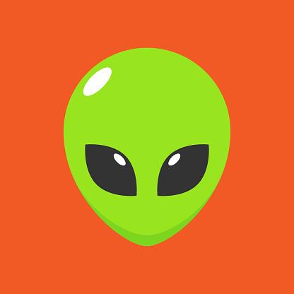 Vector Green Alien Head Avatar Illustration