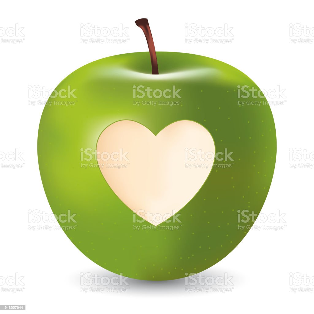Vector Green Apple With Heart Symbol Stock Vector Art More Images