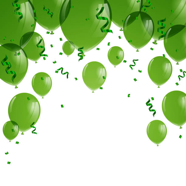 Vector Green Balloons vector art illustration