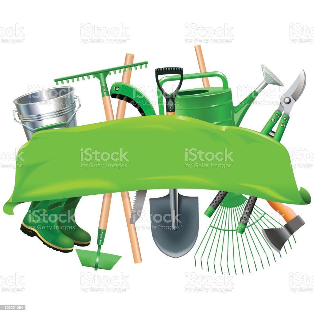 Vector Green Banner with Garden Tools vector art illustration