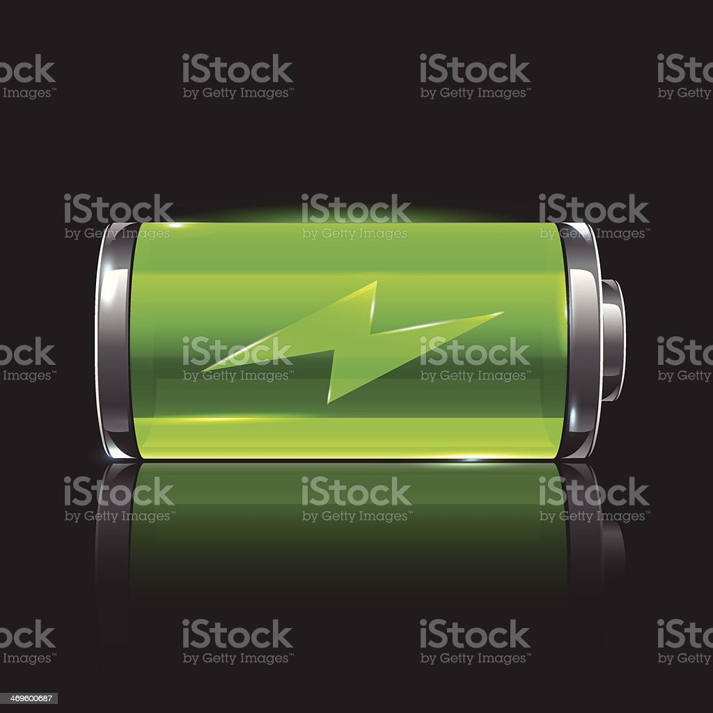Vector green battery, full charge with lighting vector art illustration