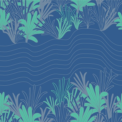 Vector green blue palm leaf reef seamless pattern