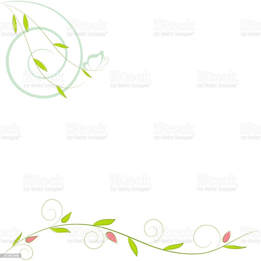 Ilustración de Vector Verde Rama Con Hojas Y Mariposa Para La ...