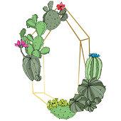 Vector Green cactus floral botanical flower. Wild spring leaf wildflower isolated. Engraved ink art. Frame border ornament square.