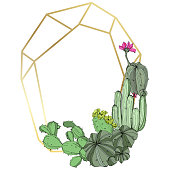 Vector Green cactus floral botanical flowers. Wild spring leaf wildflower isolated. Engraved ink art. Frame border ornament square.