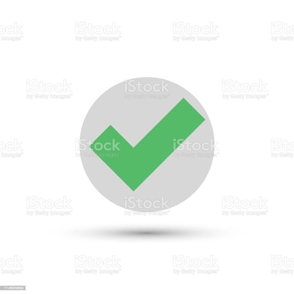 Vector Green Check Icon In Round Shape Ok Correct Checkmark Symbol