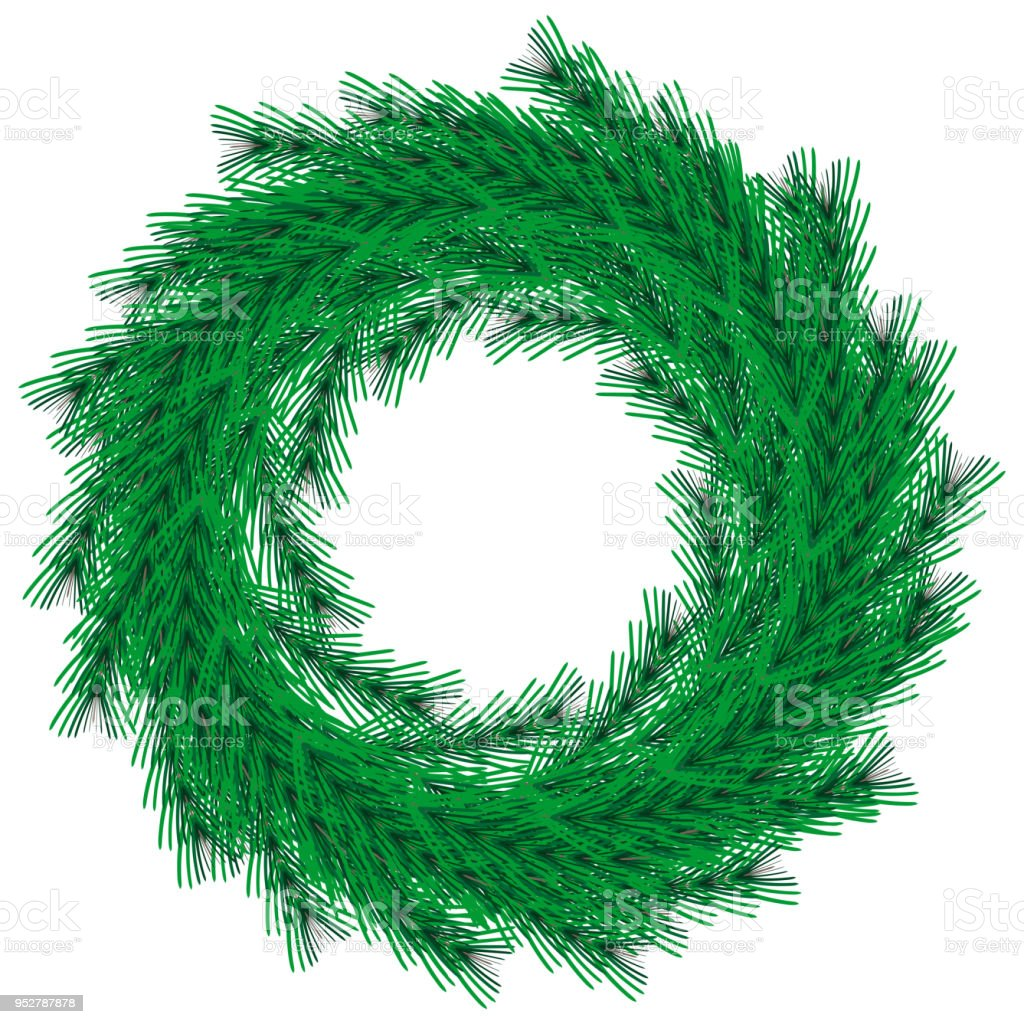 vector green christmas wreath isolated on background realistic flat