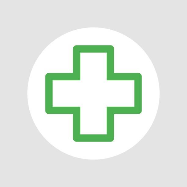 illustrazioni stock, clip art, cartoni animati e icone di tendenza di vector green cross medical symbol - croce farmacia