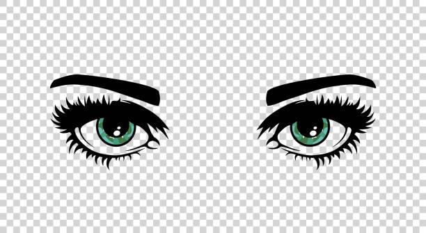 illustrazioni stock, clip art, cartoni animati e icone di tendenza di vector green female eyes with long lashes and make up. beautiful girls - fare l'occhiolino