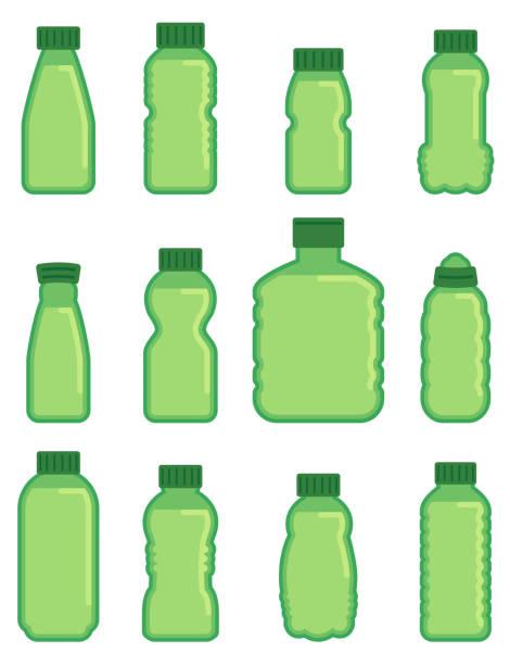 vektor grün glas flasche flache symbole - altglas stock-grafiken, -clipart, -cartoons und -symbole