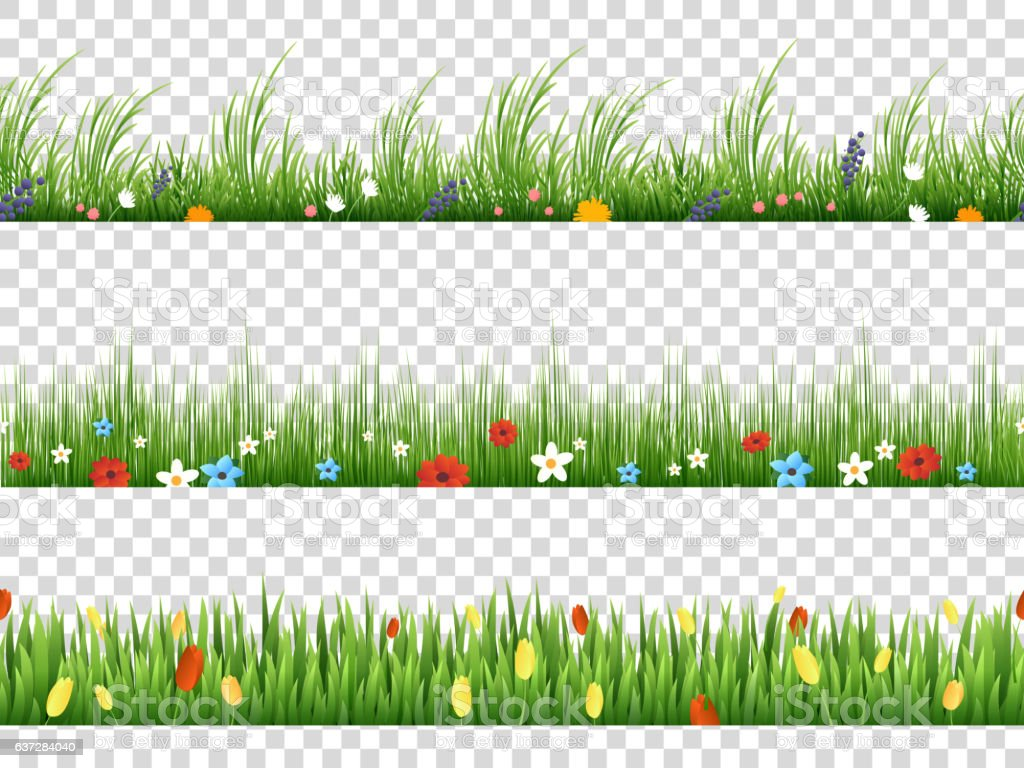 Vector Green Grass And Spring Flowers Nature Border Patterns Vektor