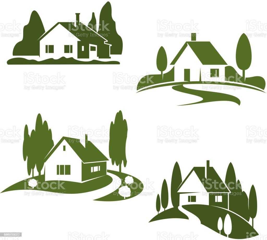 Vector green house farm forest icons vector art illustration